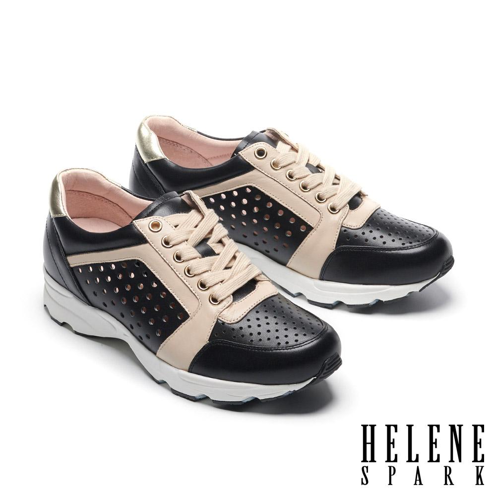 休閒鞋 HELENE SPARK 時尚運動風打洞牛皮綁帶厚底休閒鞋-黑