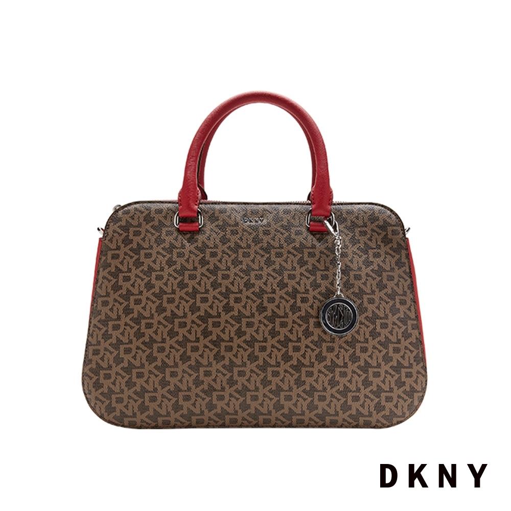 DKNY LOGO壓紋時尚手提包 紅
