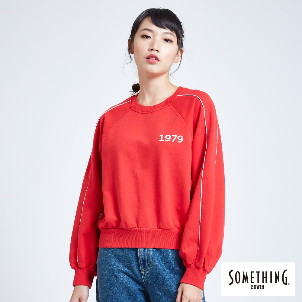 SOMETHING 青春高校運動風大學長袖T恤-女-紅色