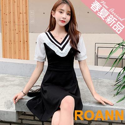 學院風V領拼接木耳花邊短袖洋裝 (黑色)-ROANN
