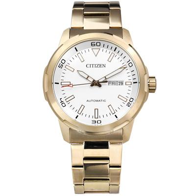 CITIZEN 星辰表 自動上鍊日期星期夜光機械錶不鏽鋼手錶-銀x鍍香檳金/42mm