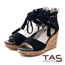 TAS羅馬流蘇踝綁帶麂皮楔型涼鞋-性感黑
