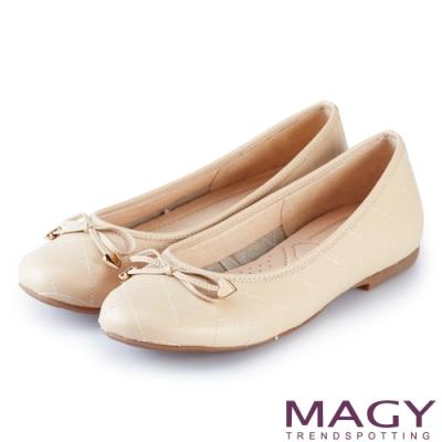 MAGY 清新甜美女孩 菱格紋縫線真皮平底娃娃鞋-粉色