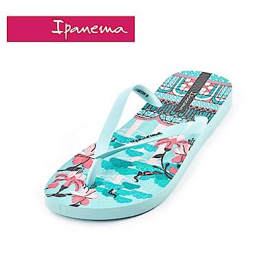 IPANEMA MEU BRASIL印花系列 熱帶花園 人字拖鞋(女款)-淺藍色