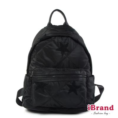 iBrand後背包 輕盈尼龍空氣包媽媽包後背包-黑星星