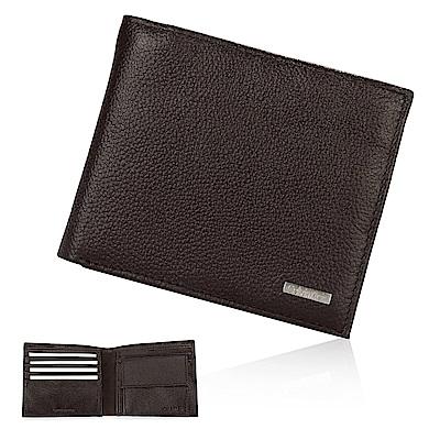 Calvin Klein 荔枝紋皮革鐵牌LOGO短夾禮盒-咖啡色