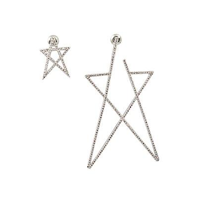 Prisme美國時尚飾品 璀璨水鑽五芒星 銀色耳環 耳針式