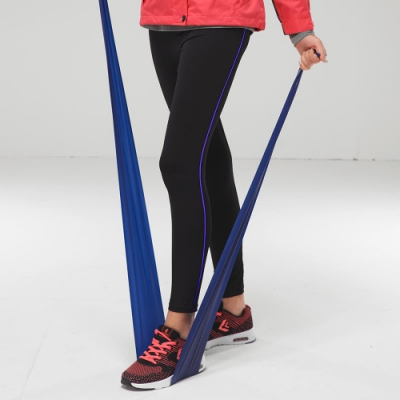 【FIVE UP】跳色彈力運動緊身長褲-藍紫
