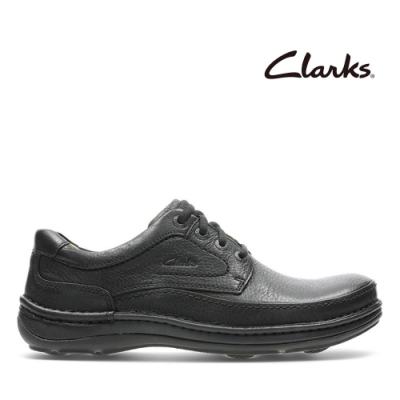 Clarks 自然家族 縫線設計舒適好走厚底休閒鞋 黑色