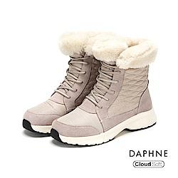 達芙妮DAPHNE 短靴-異材質撞色拼接翻毛內裡短靴-卡其