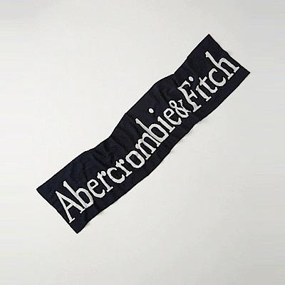 A&F 經典文字設計針織舒適保暖圍巾-深藍色 AF Abercrombie