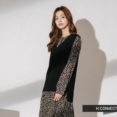 H:CONNECT 韓國品牌 女裝-兩件式小花百摺洋裝-黑
