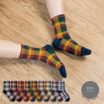 阿華有事嗎  韓國襪子 復古風拼色格紋中筒襪  韓妞必備 正韓百搭純棉襪