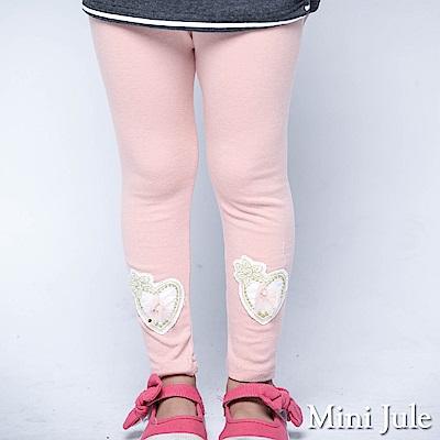 Mini Jule 內搭褲 立體刺繡愛心 彈性長褲(粉紅)
