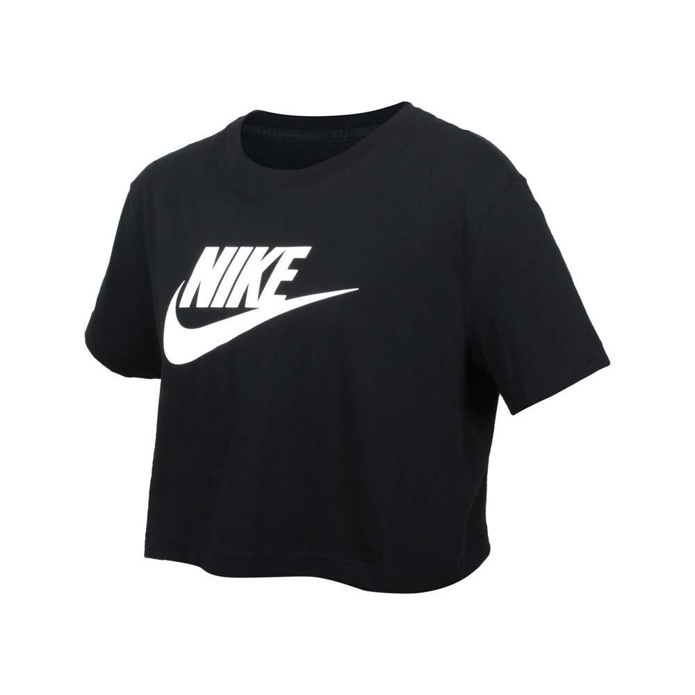 NIKE 女短版短袖T恤-純棉 寬版 休閒 上衣 慢跑 BV6176-010 黑白