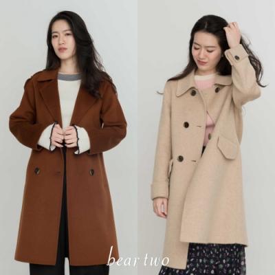 [時時樂限定]beartwo-秋冬新品100%純羊毛雙面呢大衣 兩款任選3690