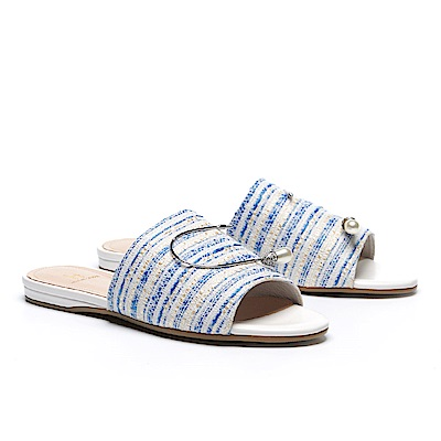 拖鞋 HELENE SPARK 復古時髦水滴珍珠晶鑽條紋布拖鞋-藍