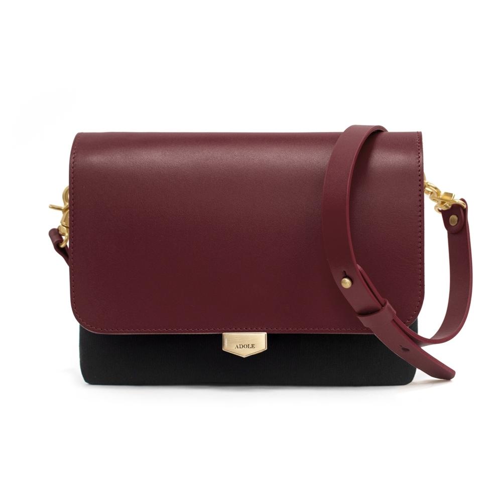 【IBAOBAO愛包包】ADOLE-ADay真皮袋蓋三層帆布包/黑+酒紅
