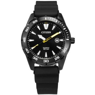 CITIZEN 三眼計時 礦石強化玻璃 日本機芯 防水100米 橡膠手錶-黑/42mm