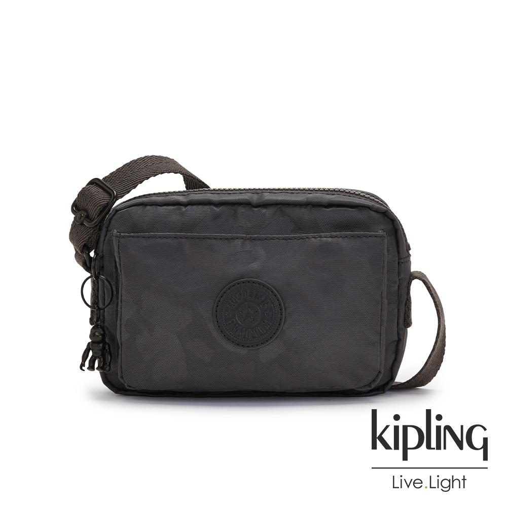 Kipling 黑茶佐率性迷彩前後加寬收納側背包-ABANU
