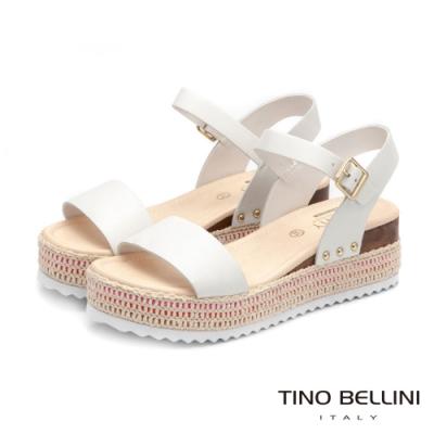 Tino Bellini巴西進口完美工藝編織厚底涼鞋_白