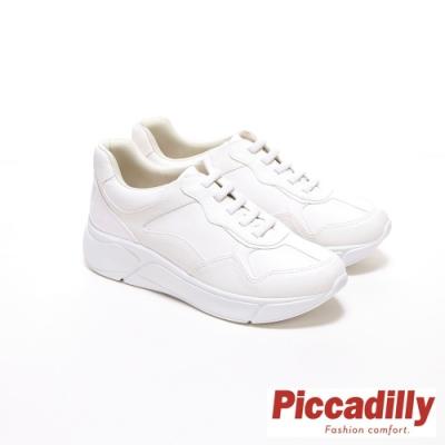 Piccadilly 素面 漆皮 同色拼接 厚底綁帶休閒鞋- 白(另有 黑 豆沙粉)