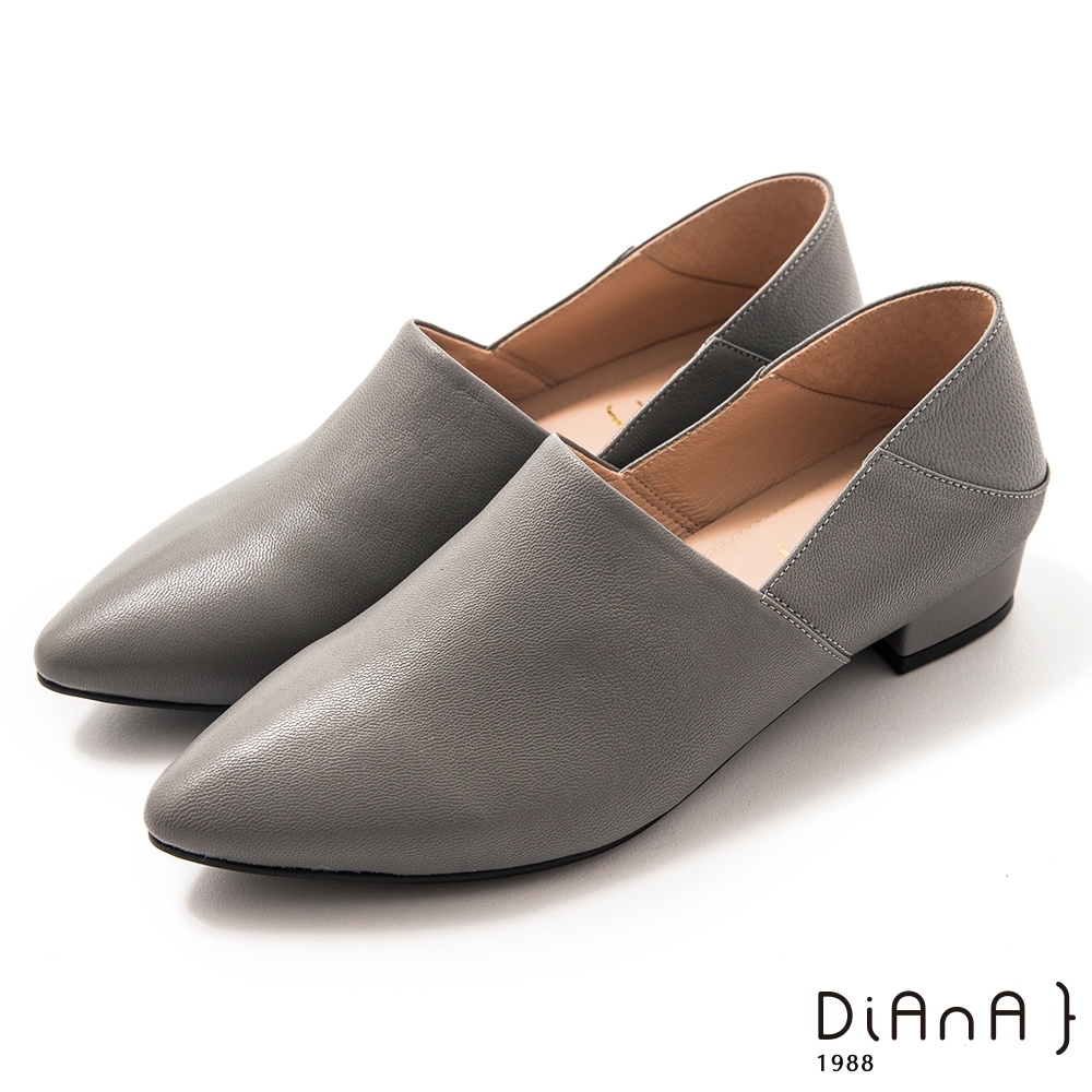 DIANA素色兩穿2way羊皮樂福鞋-簡約時尚-灰藍