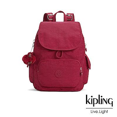 Kipling 燦爛緋紅拉鍊掀蓋後背包-CITY PACK S