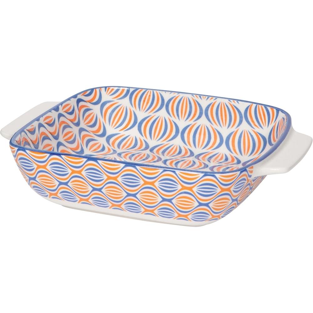 《NOW》圖騰長形深瓷烤盤(繁花橘20.3cm)