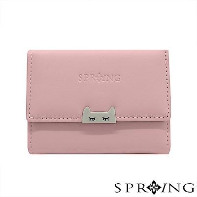 SPRING-晚安貓咪短夾-柔和粉