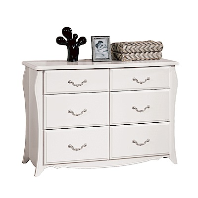 文創集 琳達法式白3.5尺六斗櫃/收納櫃-106x45x75.5cm免組