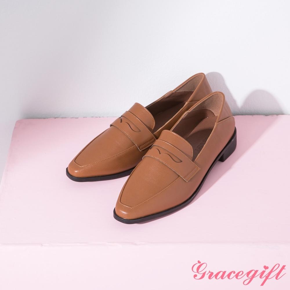 Grace gift-微尖頭便仕2way樂福鞋 焦糖棕