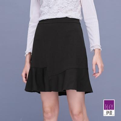 ILEY伊蕾 不規則波浪剪接褲裙(黑)