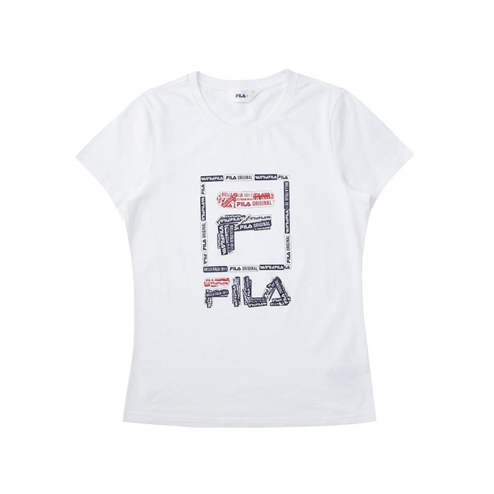 FILA 女短袖圓領T恤-白色 5TEV-1521-WT