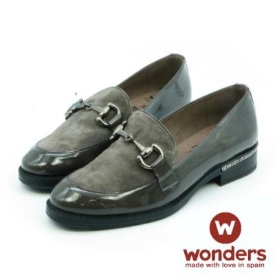 WONDERS-麂皮拼接飾釦樂福鞋-灰色