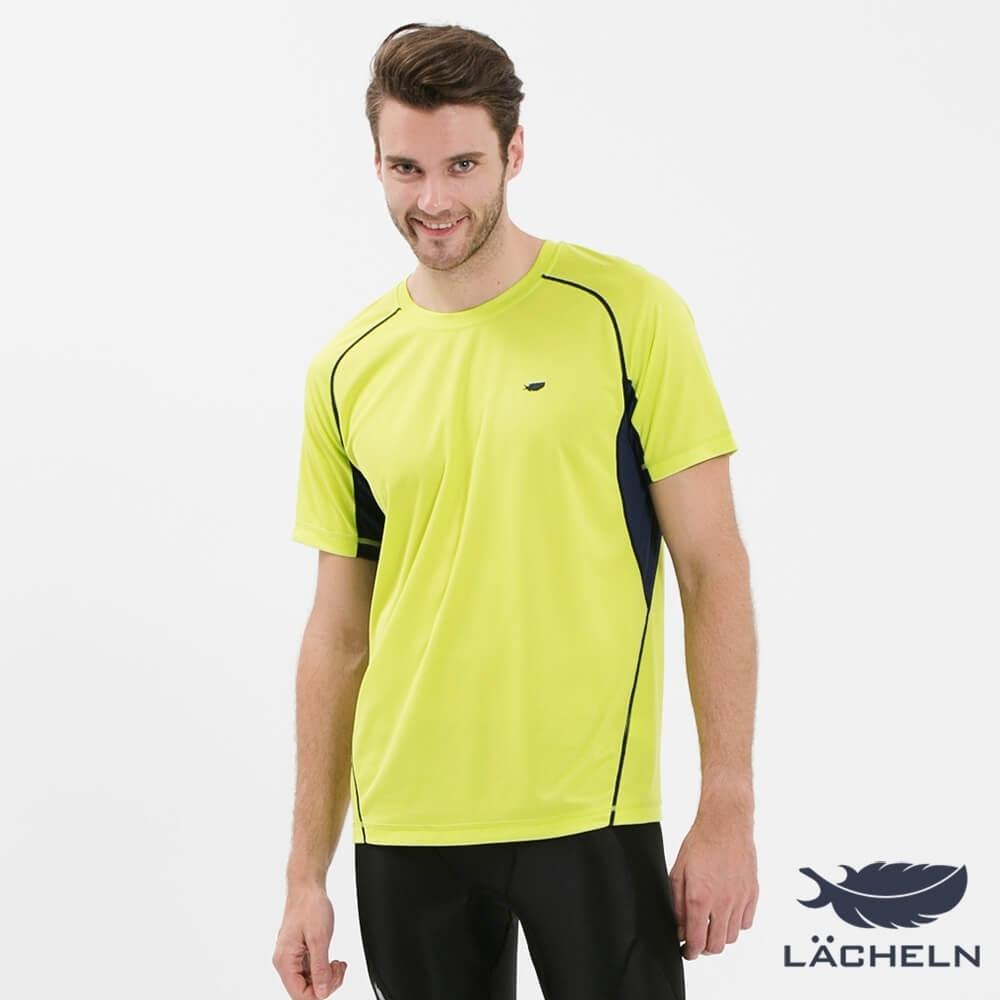 【LACHELN】男款MIT抗UV吸排快乾運動圓領上衣-芥末綠(S72MA06)