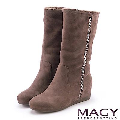 MAGY 暖冬時尚 2WAY內增高毛毛滾邊平底靴-可可
