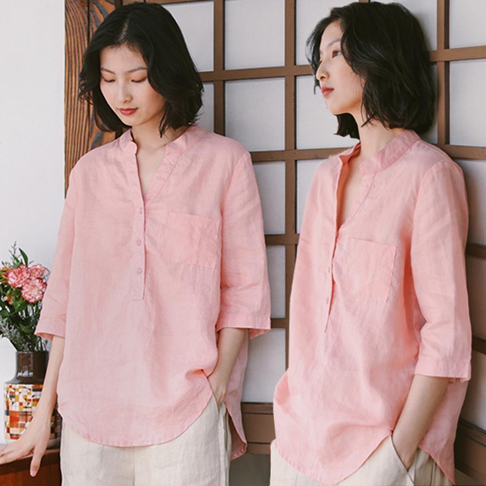襯衫-砂洗苧麻中袖寬鬆棉麻V領粉色上衣-設計所在