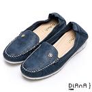 DIANA 漫步雲端焦糖美人款--玫瑰花釦雲彩超軟Q休閒鞋–藍