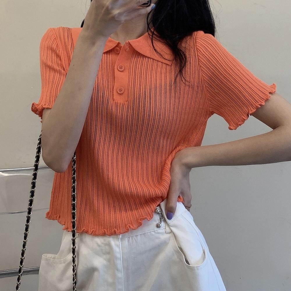 ALLK 歐楷 超彈力翻領針織上衣 共5色(尺寸F 任選) (橘色)