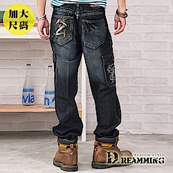 Dreamming 大尺碼個性雙龍立體刺繡側袋單寧工作褲