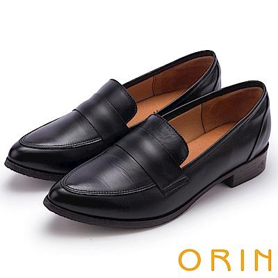 ORIN 懷舊復古學院風 雙色蠟感牛皮樂福鞋-黑色