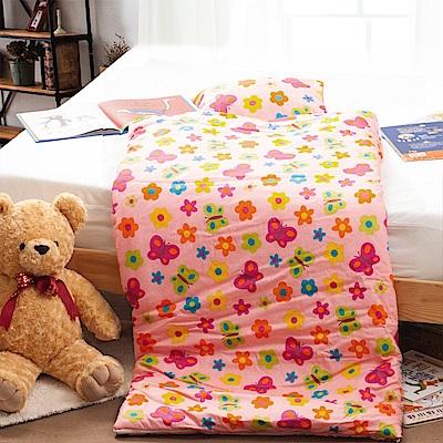 Carolan-花蝶共舞 純棉舖棉兩用加大型兒童睡袋