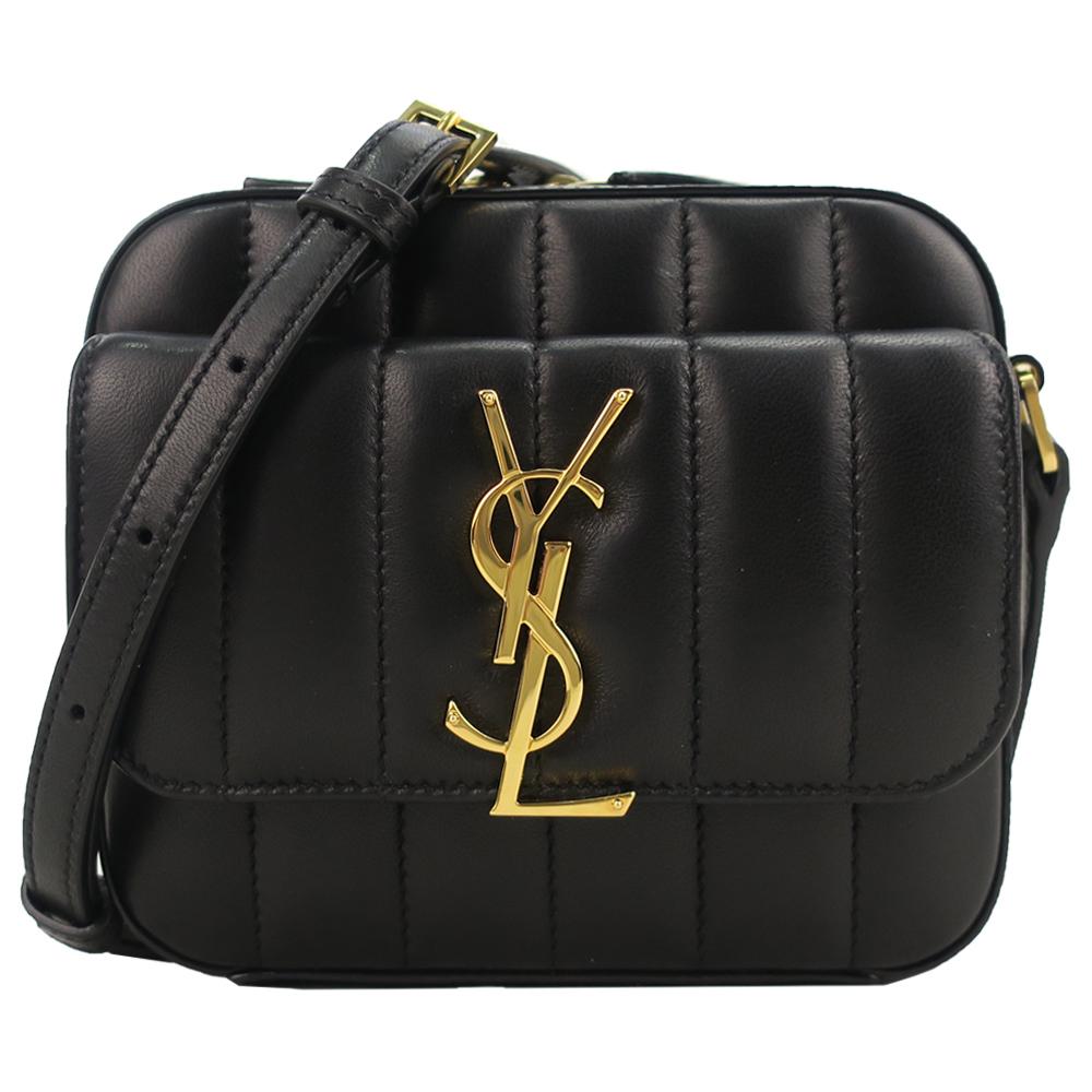 YSL VICKY系列LOGO前翻蓋小羊皮方形迷你斜背包(黑) @ Y!購物