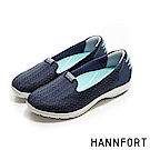 HANNFORT EASY WALK運動網布動能氣墊健走鞋-女-沉穩藍