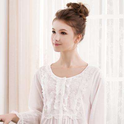 華歌爾睡衣-精梳棉蕾絲 M-L 長袖裙(白)