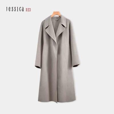 JESSICA RED - 氣質翻領綁帶長羊毛大衣外套(莫蘭迪灰)