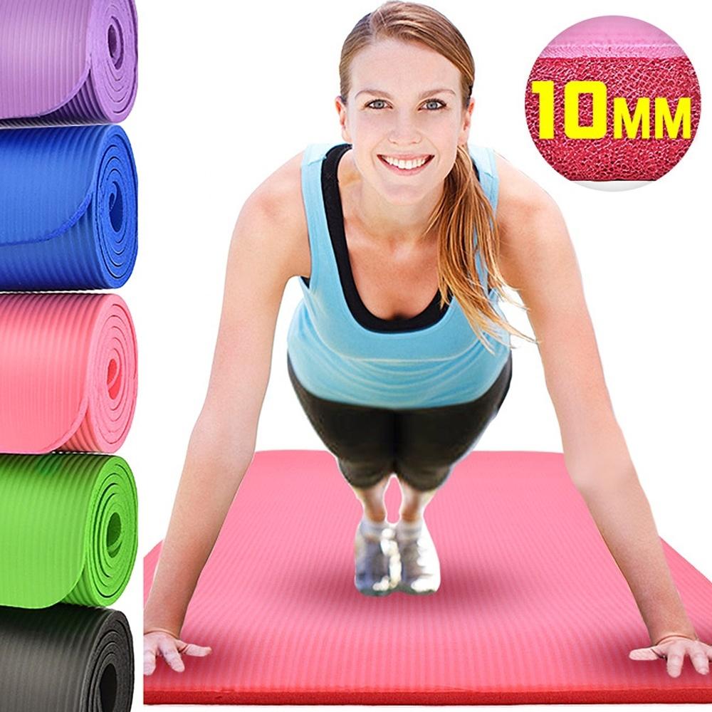 加厚10MM瑜珈墊(贈送束帶)  NBR運動墊止滑墊防滑墊