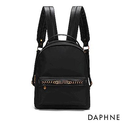 達芙妮DAPHNE-字母鏈條皮革後背包-黑
