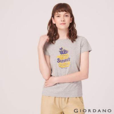 GIORDANO 女裝SUN AND SEA系列印花短袖T恤-52 中花灰